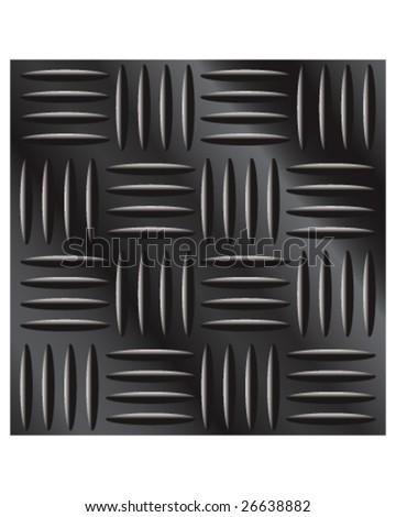 Vector illustration of dark metal large cross hatch tread background