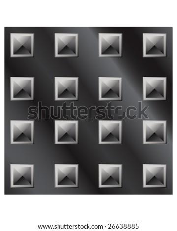 Vector illustration of dark metal large pyramid stud background