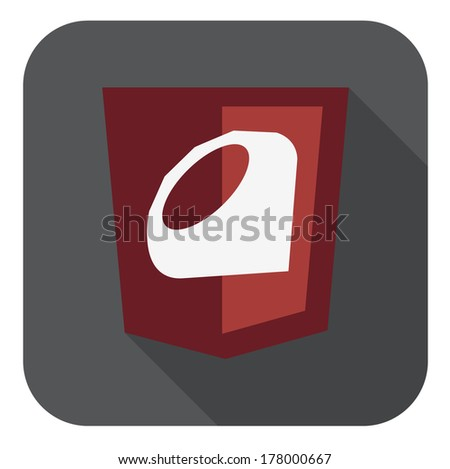 vector illustration of dark red shield with ruby programming language sign, isolated web site development icon on white background