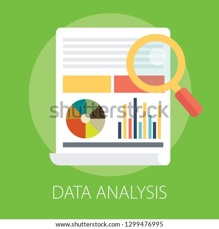 Vector illustration of data analysis and financial research with