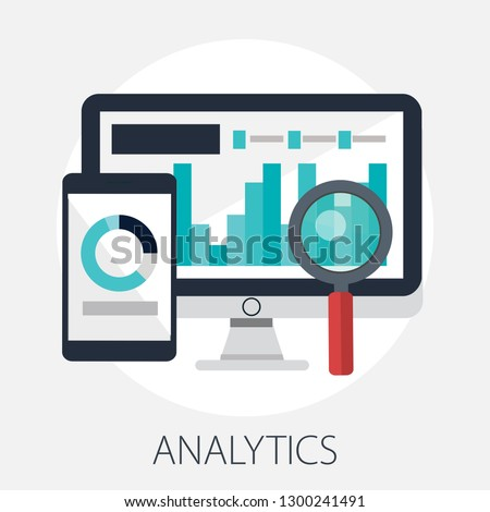 Vector illustration of Data analysis & business information research solution concept with
