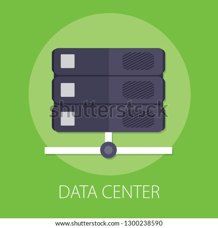 """Vector illustration of data center and cloud computer hosting with """"server data center"""" data technology concept."""