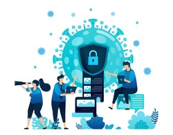 Vector illustration of data encryption and security to protect confidential information of covid-19 virus and vaccines. Virus document encryption icon and symbol. Landing page, web, website, banner