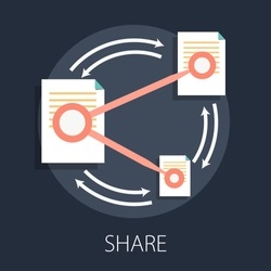 Vector illustration of data sharing and technology concept with