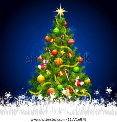 vector illustration of decorated Christmas tree in snowflakes