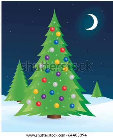 Vector illustration of decorated Christmas tree on a winter landscape.