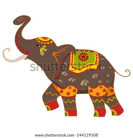 vector illustration of decorated elephant