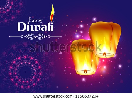 vector illustration of Decorated Floating sky lamp for Happy Diwali festival holiday celebration of India greeting background
