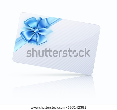 Vector illustration of decorated gift card with blue ribbons and bow