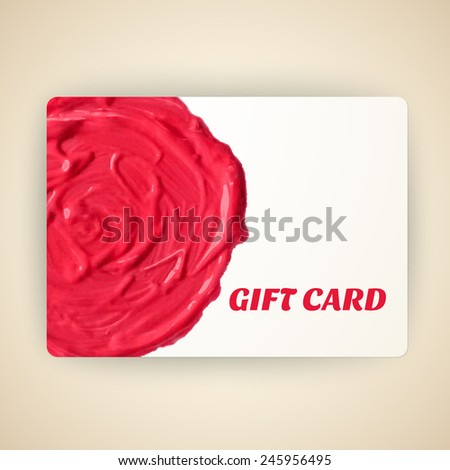 Vector illustration of decorated gift card with oil paint stain.