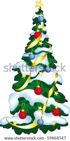 Vector illustration of decorated ?hristmass tree.