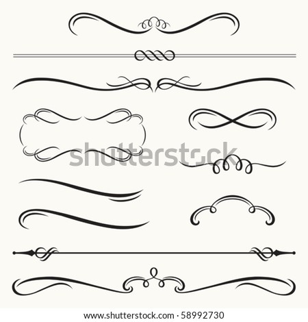 Vector illustration of decorative border and frame set.