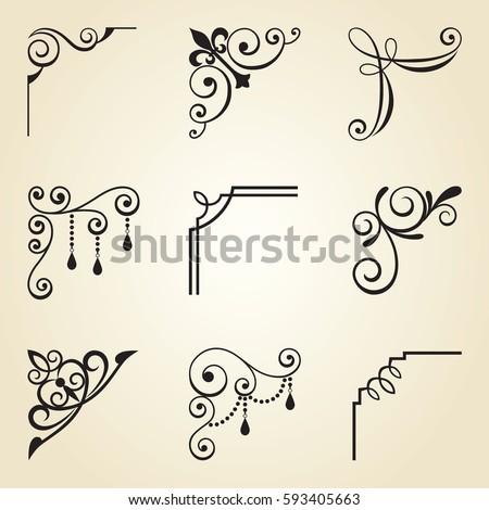 Vector illustration of decorative corner frame and borders.