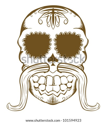 Vector illustration of decorative sugar skull with mustaches, one color