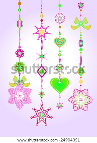 Vector Illustration of Decorative Wind Chimes with fanky snowflake shapes design