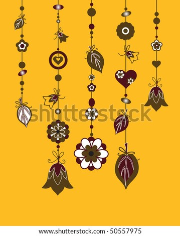 Vector Illustration of Decorative Wind Chimes with floral ornament design