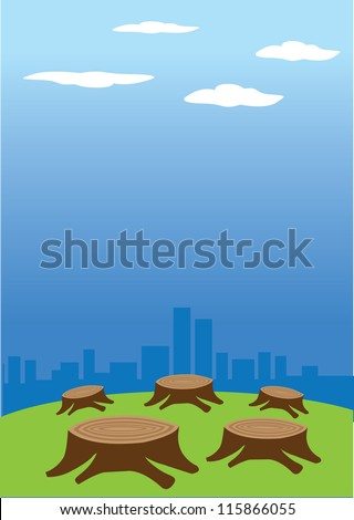 Vector illustration of deforestation against a cityscape in the background.
