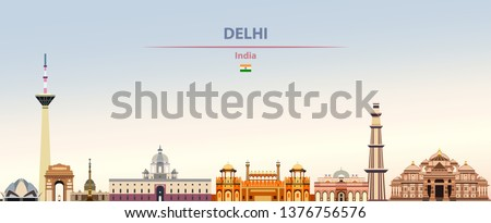 Vector illustration of Delhi city skyline on colorful gradient beautiful daytime background