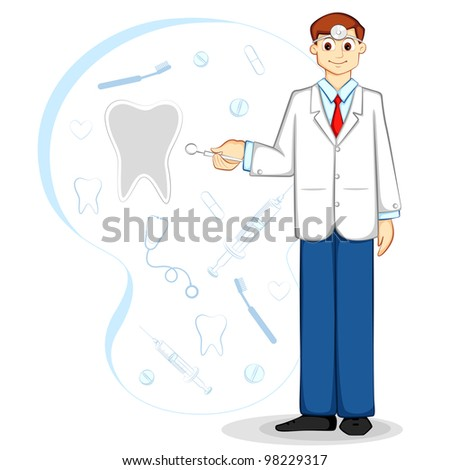 vector illustration of dentist with oral care tool