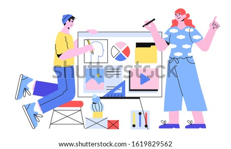 Vector illustration of designers doing presentation or preparing a new project. Creative team of web designers prototyping a new web site, landing page or mibile application. Teamwork concept.