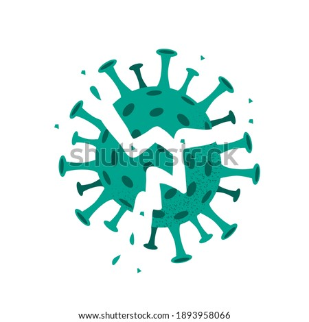 Vector illustration of destroyed coronavirus. Explosion of defeated broken virus isolated on white background. Concept of vaccination covid-19. Victory over pandemic Stock photo ©