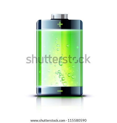 Vector illustration of detailed glossy battery full level indicator icon