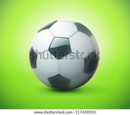 Vector illustration of detailed glossy football/soccer ball over green background