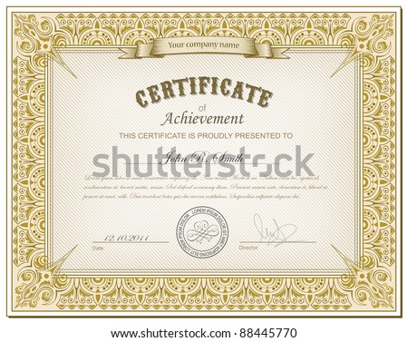 Vector illustration of detailed gold cerificate - stock vector