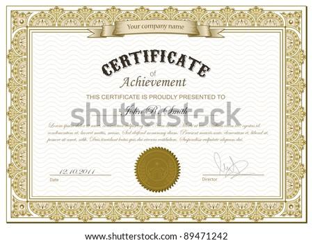 Vector illustration of detailed gold certificate