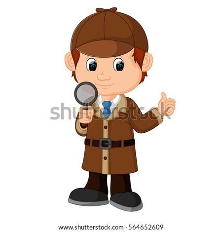 vector illustration of Detective boy Cartoon