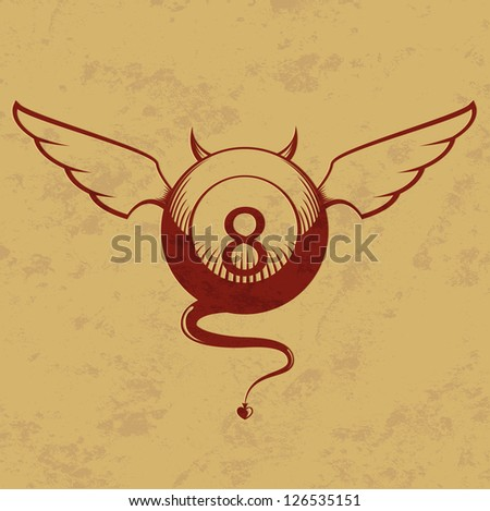 Vector illustration of devil red eight ball with horns, wings and tail