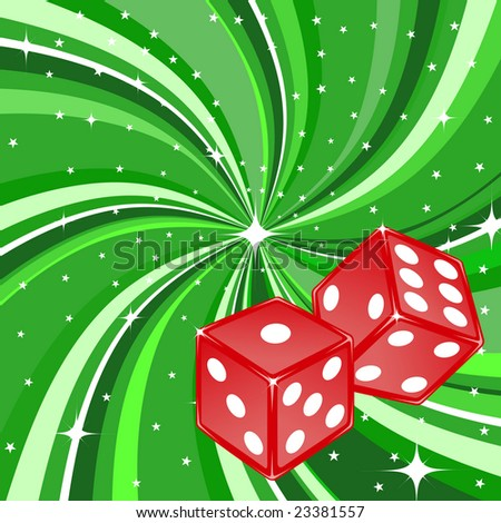 Vector illustration of dice pair on the beautiful shiny green background. Casino items.