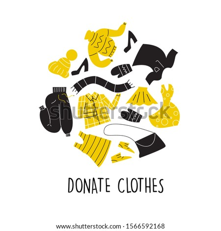 Vector Illustration of different clothes for donation. Circle composition. Charity day and social care concept. Second hand, flea market. Photo stock ©