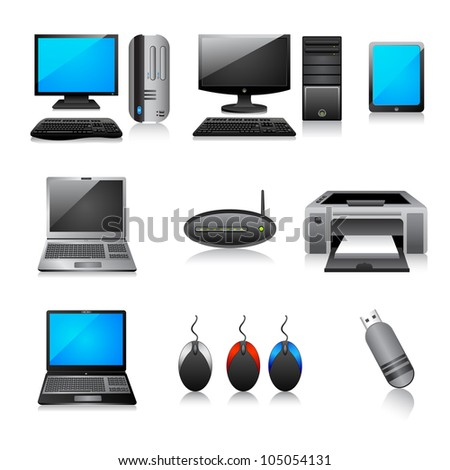 vector illustration of different computer icon against white background