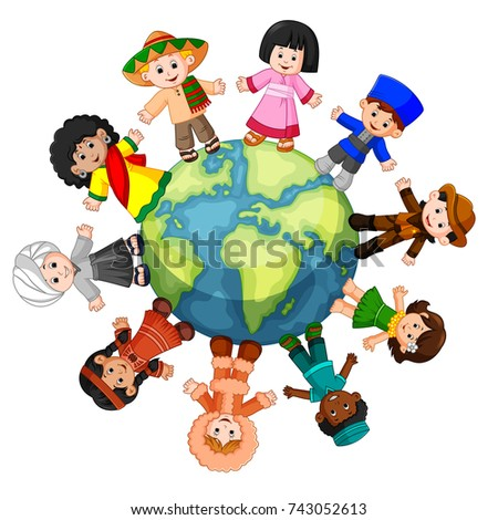 vector illustration of Different culture standing together holding hands