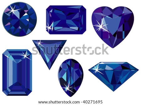 Vector illustration of different cut sapphires isolated on white