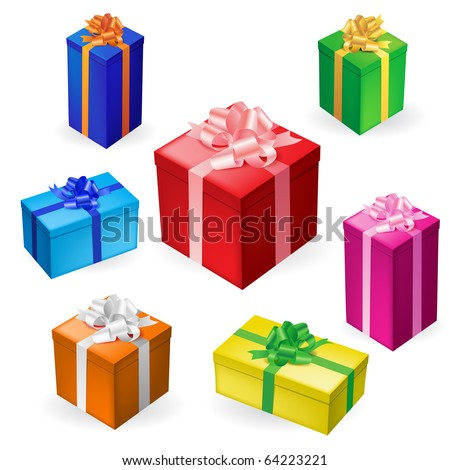Vector illustration of 7 different gift boxes with ribbon