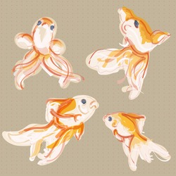 vector illustration of different jumping gold fishes. can be used for logo, banners, paper, textile and etc
