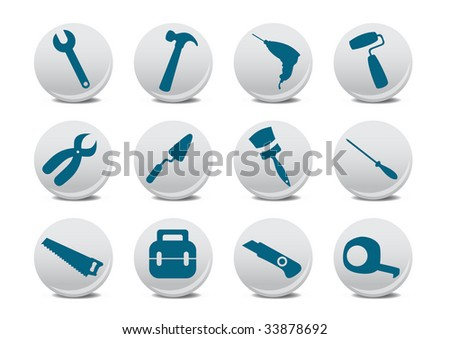 Vector illustration of different kinds of proffessional instruments. Repairing tools icon set.