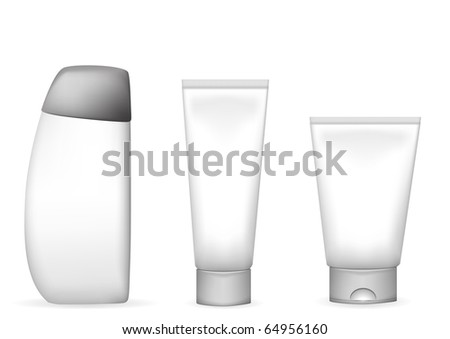 vector illustration of different lotion and shampoo tubes