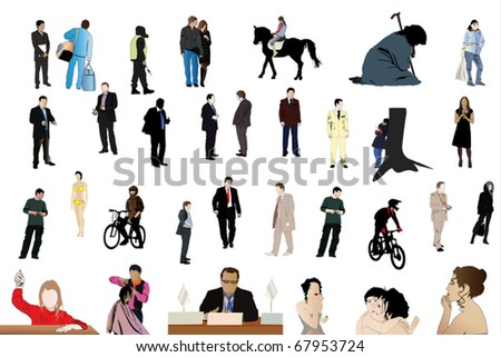 Vector illustration of different people under the white background