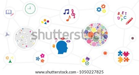 vector illustration of different sensory toys and motor skills development tools horizontal banner