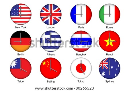 Vector illustration of different time zone on national flag clock