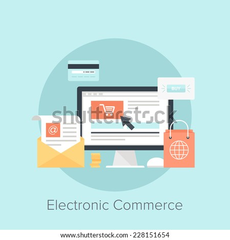 Vector illustration of digital commerce flat design concept. #228151654