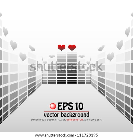 vector illustration of digital equalizer display with valentine heart on each top