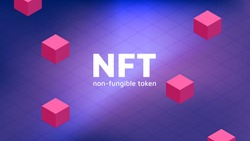 Vector illustration of digital NFT tokens. Banner for website and news