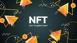 Vector illustration of digital NFT tokens in Memphis style. Banner for website and news non-fungible coins