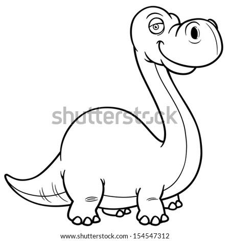 Vector illustration of Dinosaur Cartoon- Coloring  book