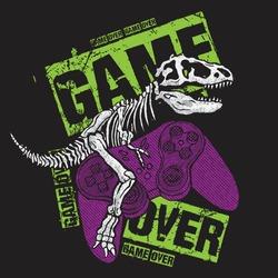 Vector illustration of dinosaur skeleton playing video game.