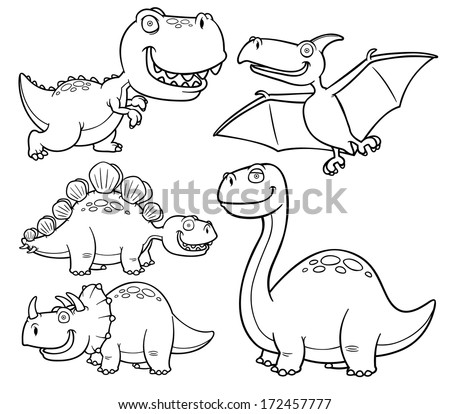 Vector Illustration Of Dinosaurs Cartoon